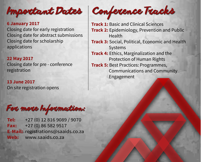 Schedule for South African AIDS Conference – 8th Edition